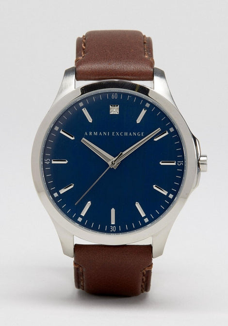 Armani Exchange Brown Leather Watch AX2181