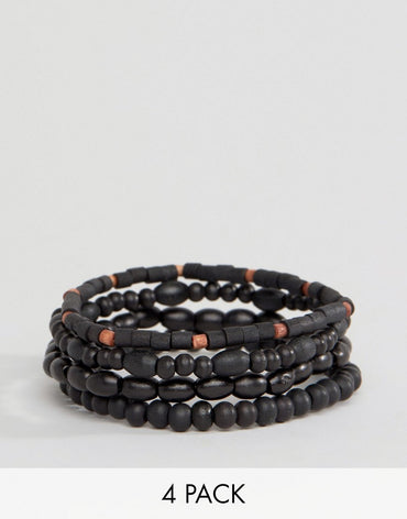 Classics 77 Black Beaded Bracelet In 4 Pack