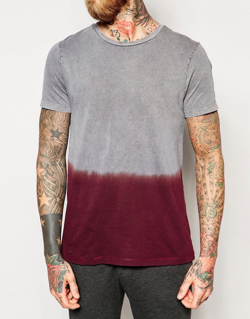 T-Shirt With Acid Wash And Dip Dye