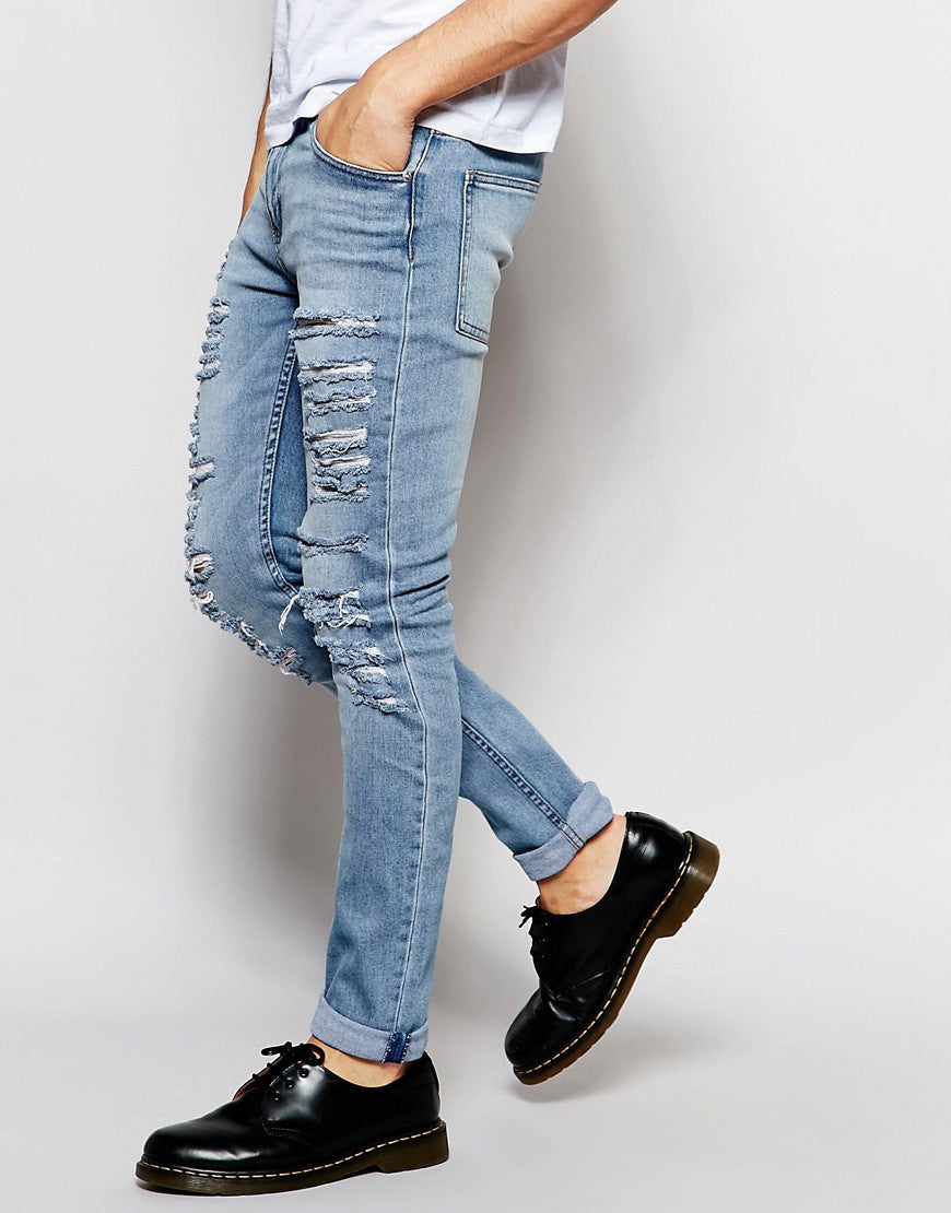 Cheap Monday Tight Slash Skinny Jeans Stretch Stonewash Extreme Rips