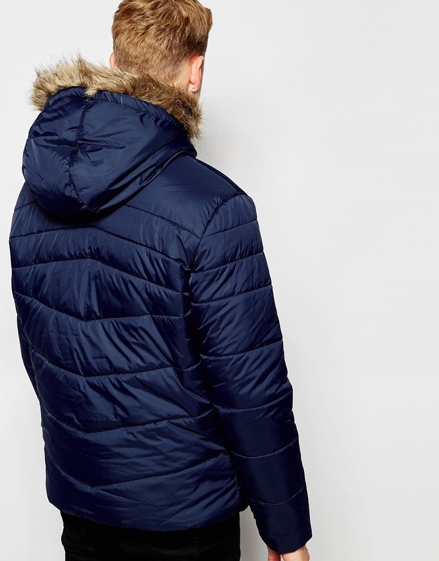 Jack & Jones Padded Jacket with Faux Fur Hood