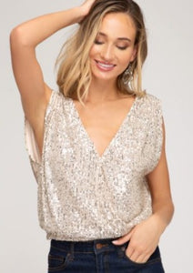 Gold Splice Sequin Top