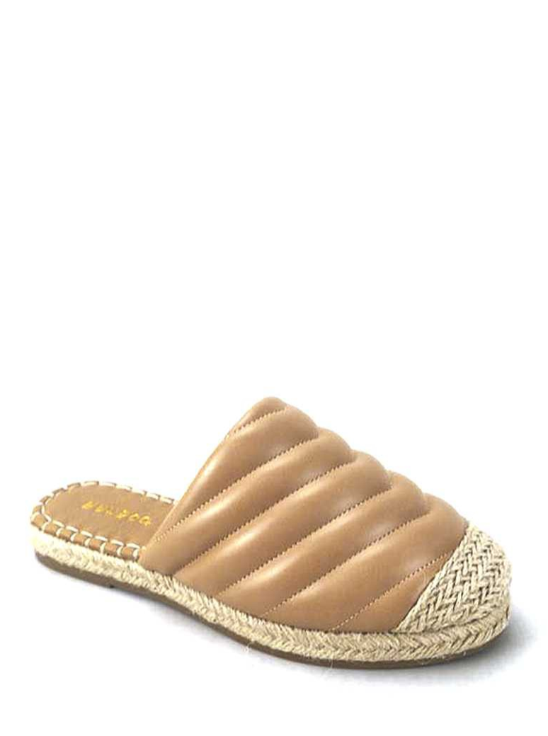 Woven Straw & Leather Slip On