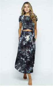 Tie Dye Cinch Waist Midi Skirt