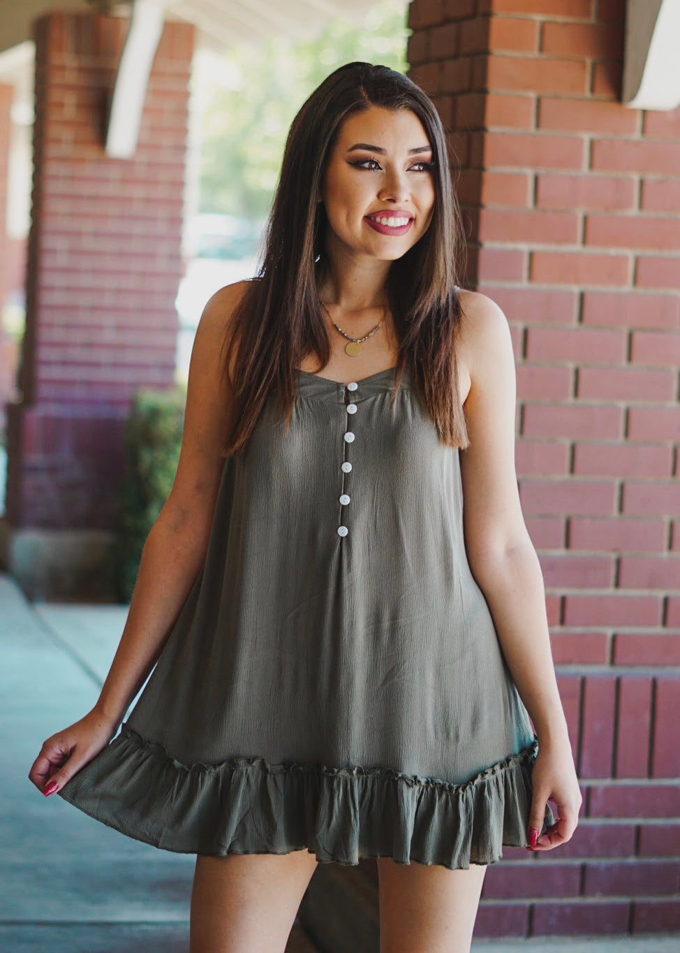Olive Button Detail Dress