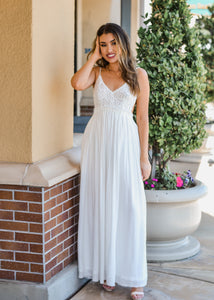 Lace Overlay Backless Maxi - White