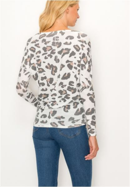 Off White Leopard Long Sleeve T Shirt