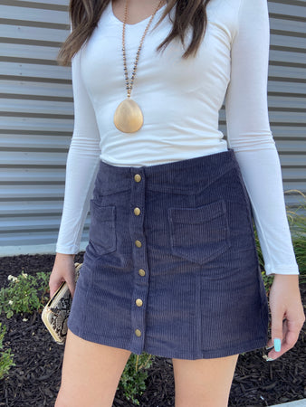 Corduroy Button Mini Skirt