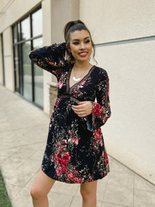 Floral Print Bell Sleeve Mini Dress