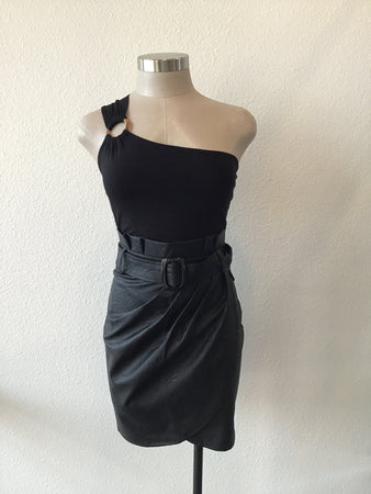 Pleather Belted Drape Skirt - Black