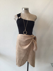 Suede Crossover Skirt