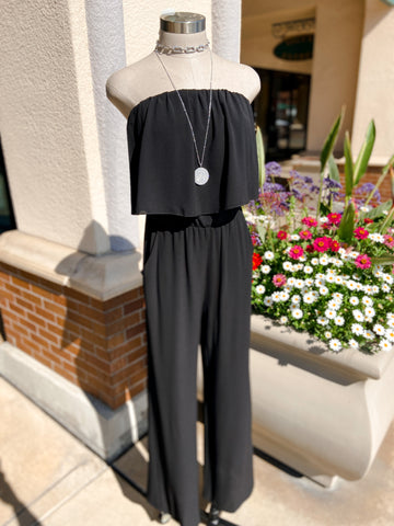 Textured Strapless Jumpsuit - Black