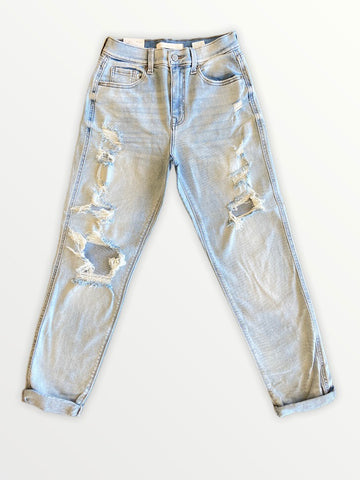 Rocky High Rise Boyfriend - Light Wash Distressed