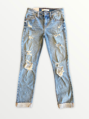 Sasha Mid Rise Skinny - Medium Wash Distressed