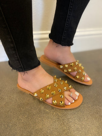 Criss Cross Studded Slide Sandal