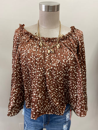 Spotted Flare Sleeve Off The Shoulder Top
