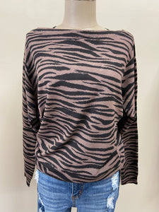 Zebra Boat Neck Sweater