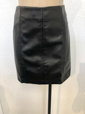 Leather Seam Mini Skirt