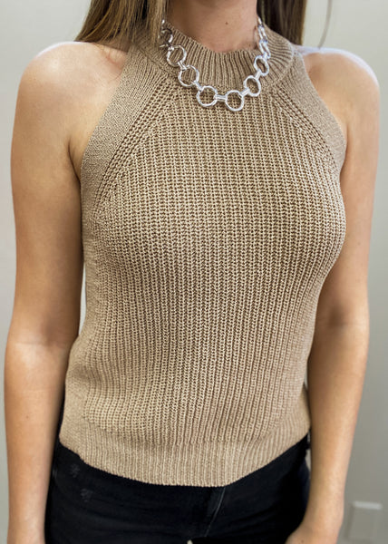 High Neck Knit Sweater Tank