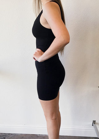 Ribbed Tank Dress with Peek-A-Boo Neck