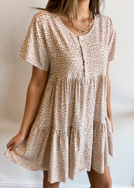 Animal Print Tiered Button Dress