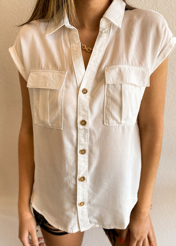 Button Down Top with Pockets