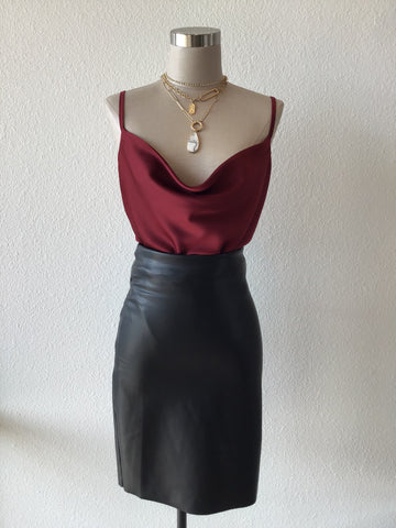 Wine Cowl Neck Satin Bodysuit