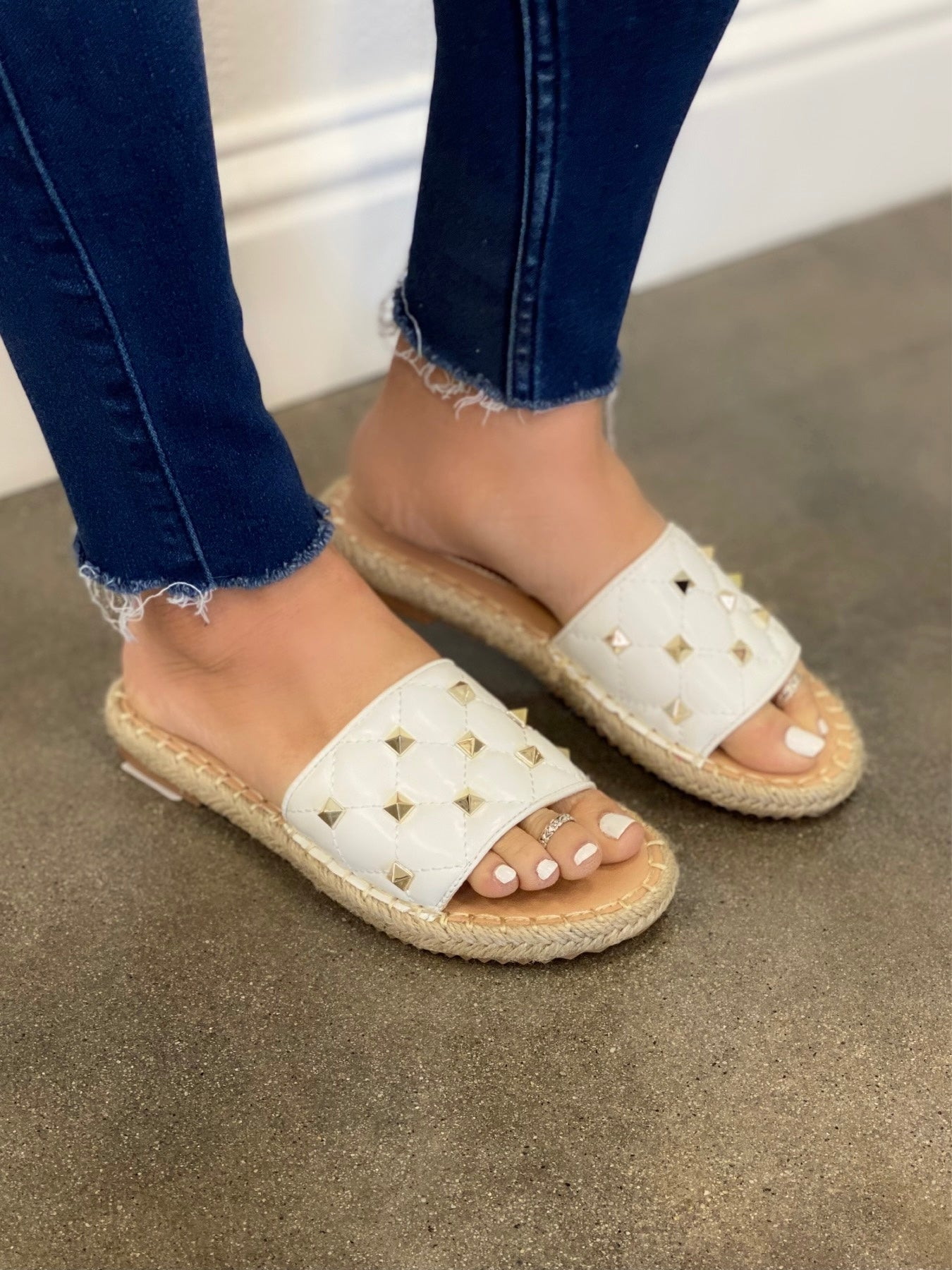 Studded White Slip-On Sandal
