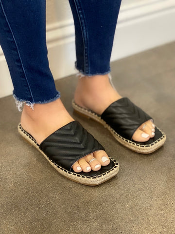 Alison Black Chevron Slip-On Sandal