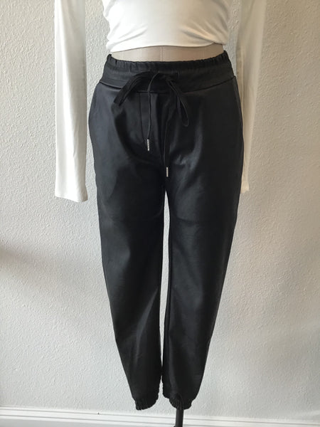 Pleather Cuffed Joggers