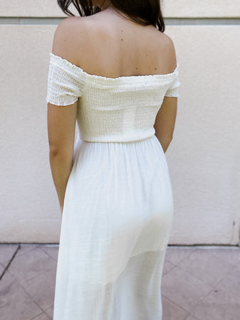 Smocked Off The Shoulder Maxi