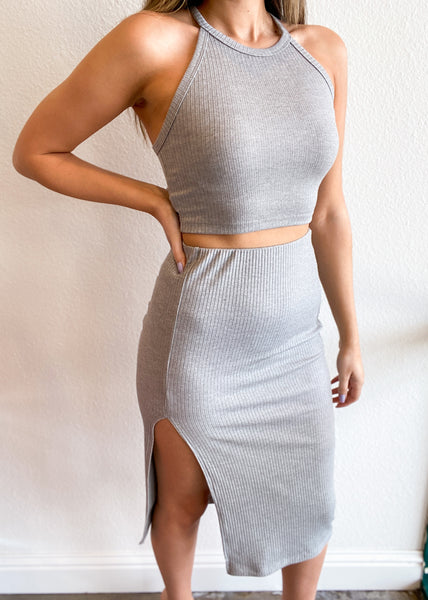 Heather Grey Ribbed Knit Racerback Cropped Tank