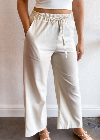Linen Wide Leg Cropped Pants with Pockets