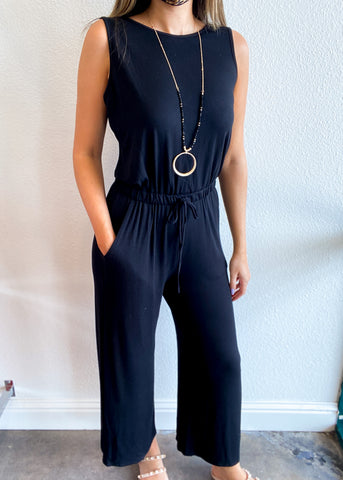 Jersey Scoop Back Cropped Jumpsuit with Pockets