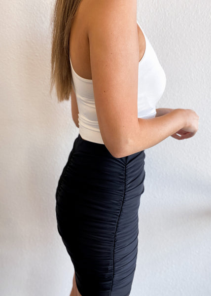 Ruched Body Con Mini Skirt