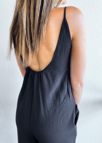 Low Back Cropped Jumpsuit with Pockets