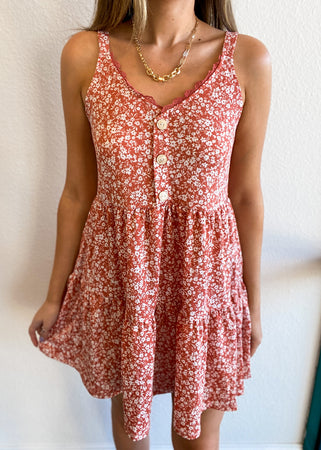 Floral Tiered Babydoll Dress with Buttons