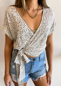 Ditsy Floral Surplice Crop Top