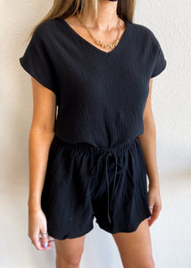 Cotton Gauze Lounge Top - Black