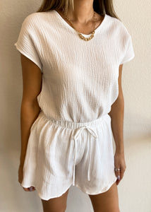 Cotton Gauze Lounge Top - White