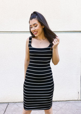 Stripe Body Con Tank Dress