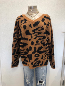 Leopard Camel V-Neck Sweater