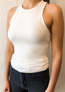 High Neck Basic Cami White