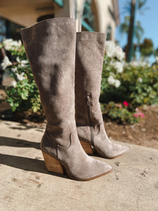Lacey Grey Knee High Boots