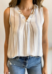 Stripe Back Button Tank Top