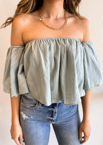 Cotton Gauze Off the Shoulder Bell Sleeve Top