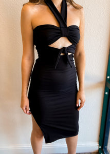 Twist Ribbed Dress with Waist Tie and Slit