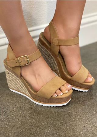 Camel Square Toed Wedge