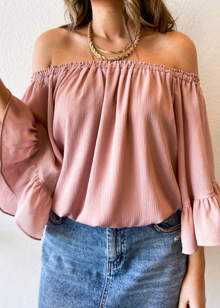 Off the Shoulder Ruffle Sleeve Top - Blush