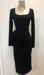 Ribbed Waist Tie Dress